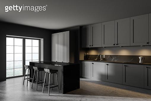 Modern gray kitchen corner with bar
