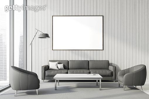 Panoramic white lounge interior, poster and sofa