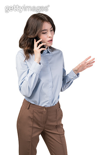 Businesswoman talking on phone, isolated