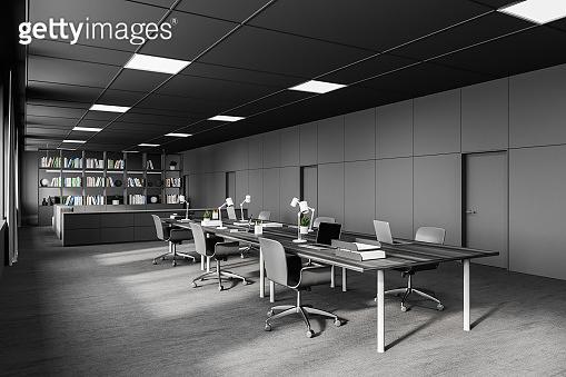 Modern grey open space office corner