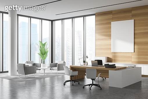 White and wood CEO office corner lounge and poster
