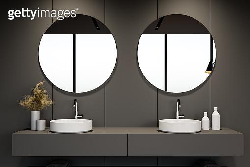 Double sink in gray bathroom