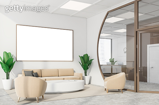 Futuristic white meeting room corner with poster