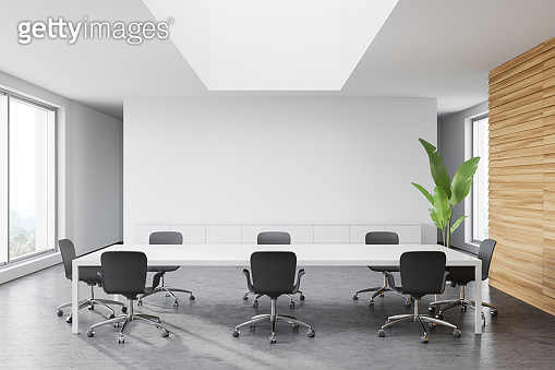 White and wooden meeting room interior