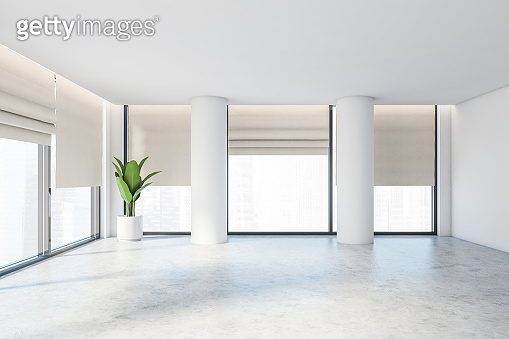 White panoramic empty office room or apartment