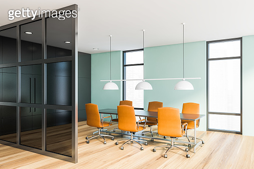 Blue and glass meeting room corner