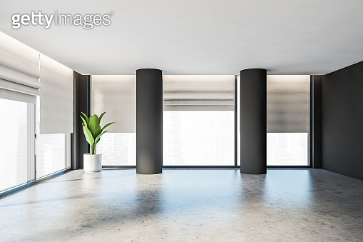 Gray panoramic empty office room or apartment