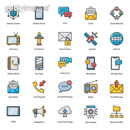 Pack Of Communication Flat Icons