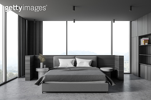 Modern wooden and gray master bedroom interior