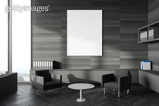 Gray wooden office waiting room with poster