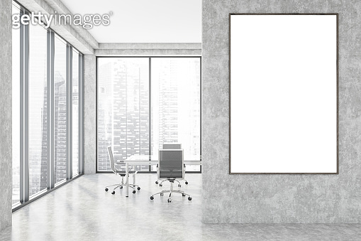 Concrete loft meeting room interior with poster