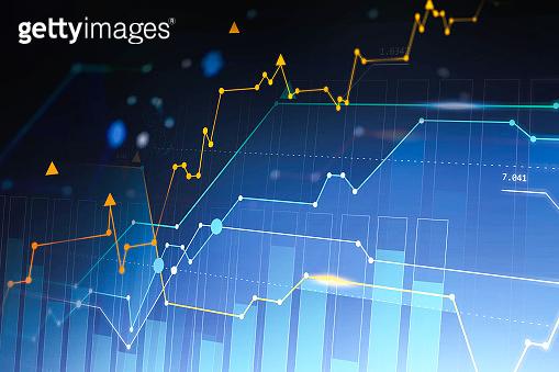 Digital graphs and bar charts background
