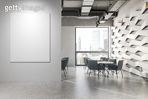 Gray ceiling geometric pattern cafe with banner