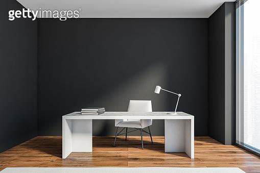 Dark grey CEO office interior