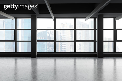 Empty panoramic gray office with cityscape