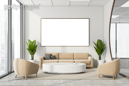 Futuristic white office meeting room with poster
