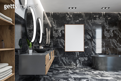 Luxury black marble bathroom with poster
