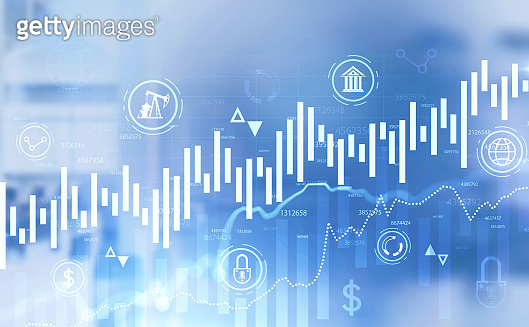 Financial graph and business interface in office