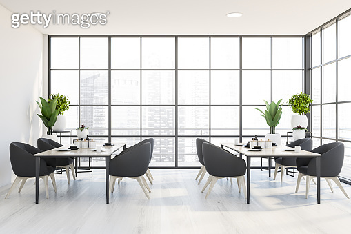 Panoramic white dining room or cafe interior