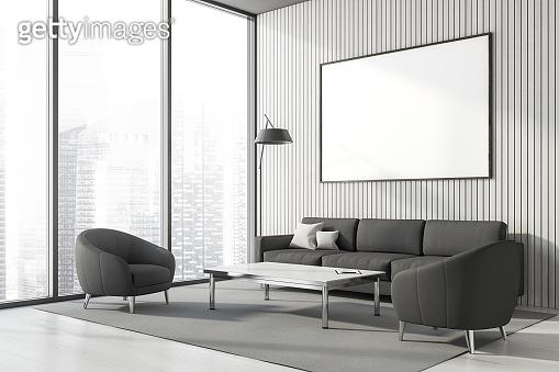 Panoramic white lounge corner, poster and sofa