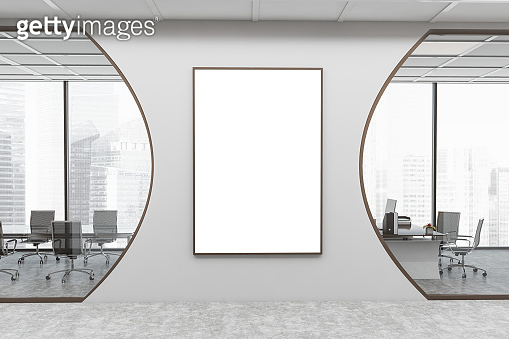White futuristic office hall with poster