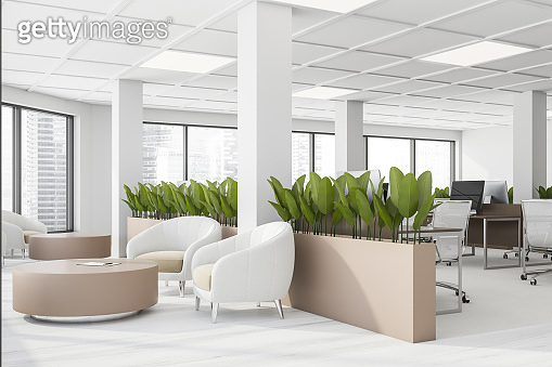 White office waiting room corner with armchairs