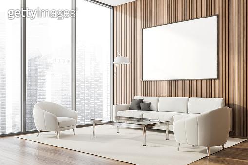 Panoramic wood lounge corner, poster and sofa