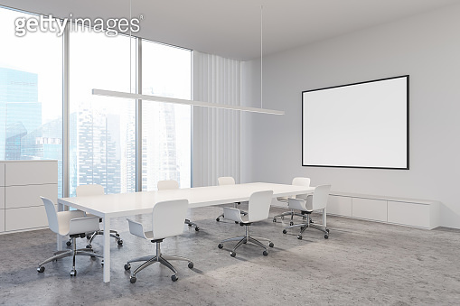 White panoramic meeting room corner with poster