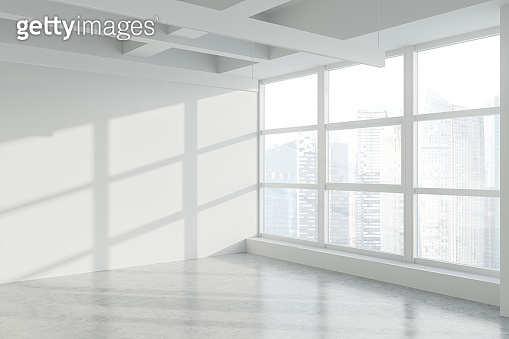 Blank wall in empty white industrial office corner