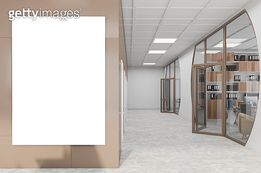 White and brown futuristic office hall with poster