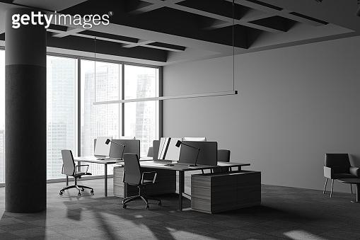 Loft grey open space office corner