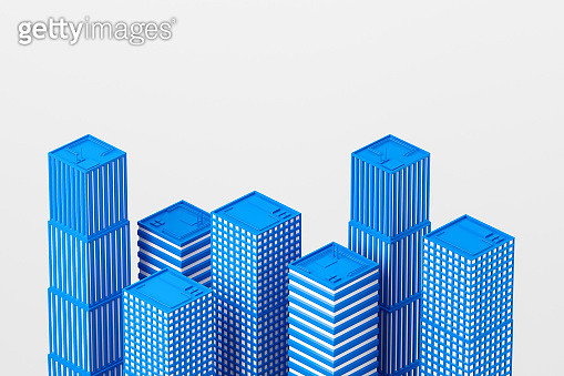 Skyscrapers and modern city model, development