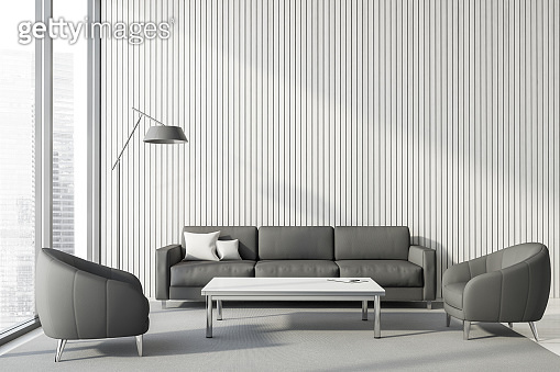 White lounge with sofa and armchairs