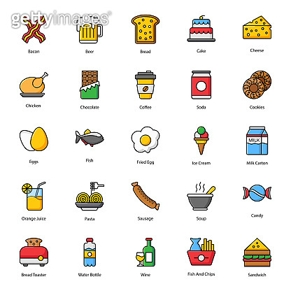 Food and Drinks Flat Icons Pack