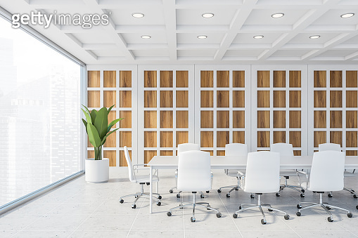 Panoramic wooden and white meeting room