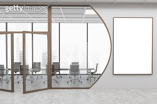 Futuristic grey conference room with poster