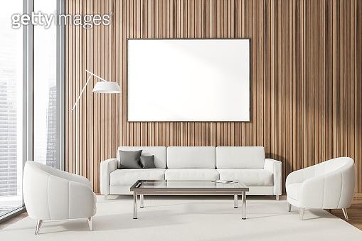 Panoramic wood lounge interior, poster and sofa