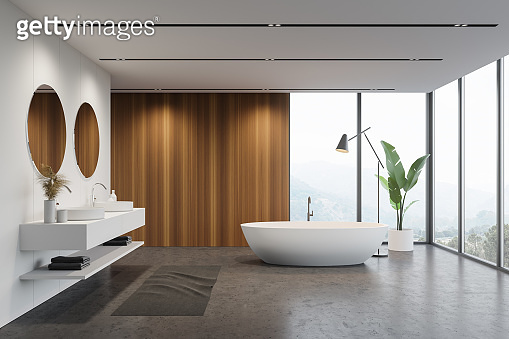 White and wooden bathroom interior, tub and sink