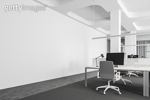 Workplace in white open space office