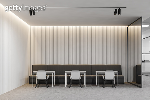 Modern white office cafe interior