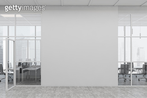 White open space office corridor with mock up wall