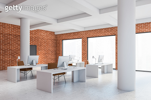 Brick loft open space office corner with columns