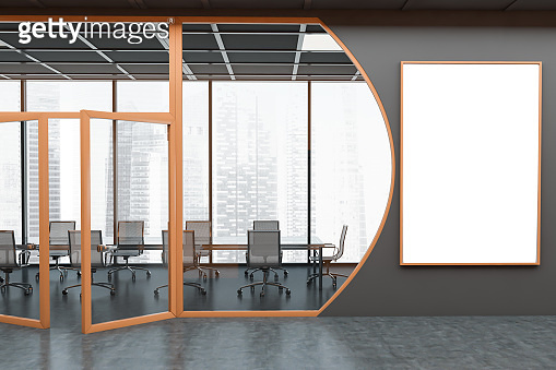 Futuristic dark grey conference room with poster