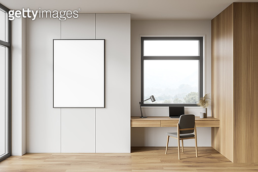 White and wooden home office interior with poster