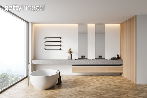White and wooden bathroom interior