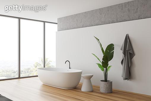 Panoramic white and stone bathroom corner with tub