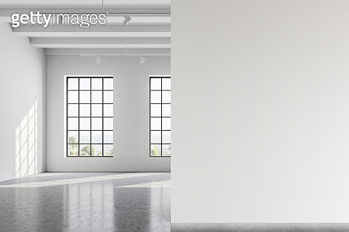 Empty white office room with mock up wall