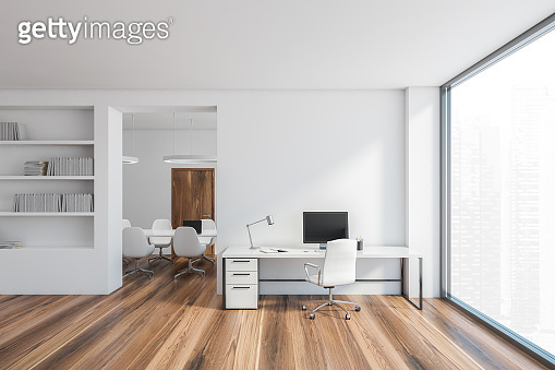 Office room interior, white open space room with bright minimalist furniture