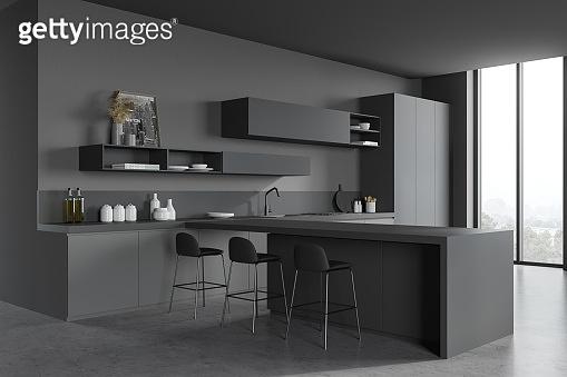 Gray kitchen corner with bar