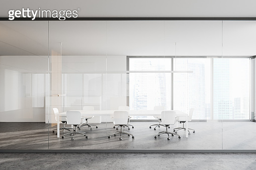 White and glass conference room interior